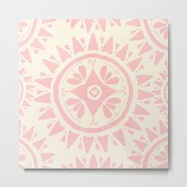 Blush Pink Bohemian Medallion Metal Print