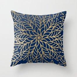 Modern chic navy blue faux gold floral mandala Throw Pillow
