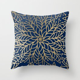 Modern chic navy blue faux gold floral mandala Throw Pillow