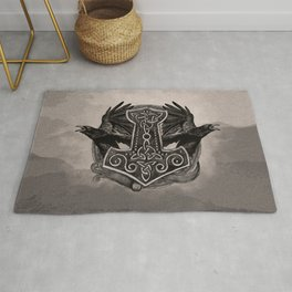 Mjolnir The hammer of Thor and ravens Rug