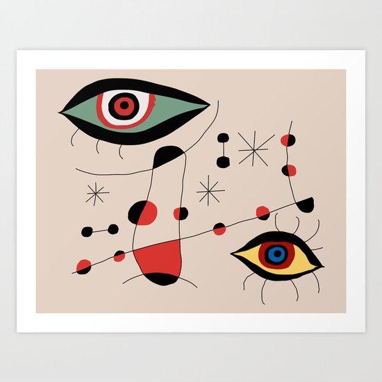 Tribute to J. Mirò (n.1) Art Print