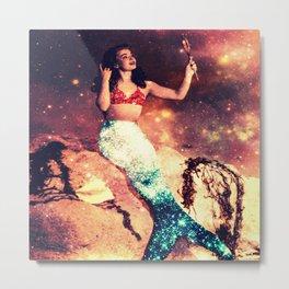 Vintage Mermaid Sparkle Metal Print