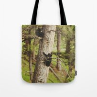 climbing Tote Bags featuring Climbing Cubs by Kevin Russ