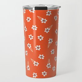 tiny white flowers on red Travel Mug