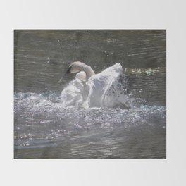 Swan's Lake - Preening Trumpeter Swan Throw Blanket