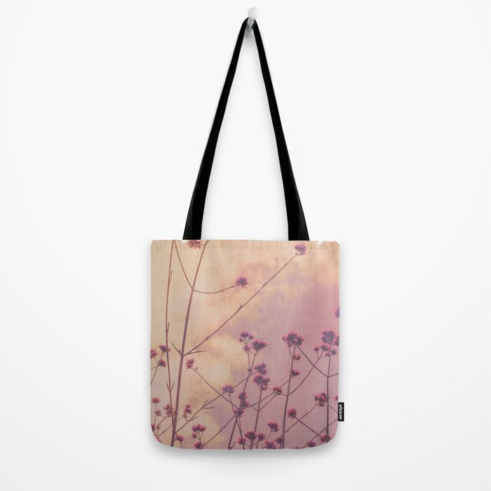 Vintage Pink Wildflowers with Dusty Purple Sky Background Tote Bag