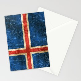 Vintage Aged and Scratched Icelandic Flag Stationery Cards