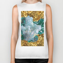 WHITE QUARTZ &  AQUAMARINE CRYSTALS  ON GOLD Biker Tank