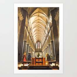 Salisbury Cathedral At Christmas Time Art Print