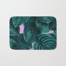 tropical green pattern on pink Bath Mat