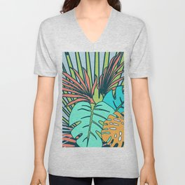Tropical leaves blue Unisex V-Neck