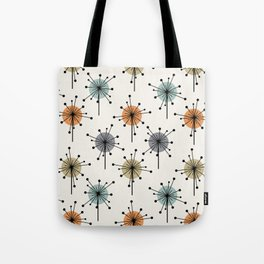 Midcentury Sputnik Starburst Flowers Colorful Tote Bag
