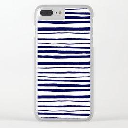 Blue- White- Stripe - Stripes - Marine - Maritime - Navy - Sea - Beach - Summer - Sailor 3 Clear iPhone Case