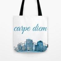 carpe diem Tote Bags featuring Carpe Diem by Mankind Design