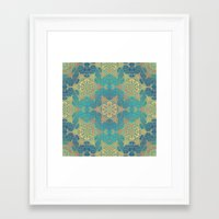 henna Framed Art Prints featuring Blue Henna by Truly Juel