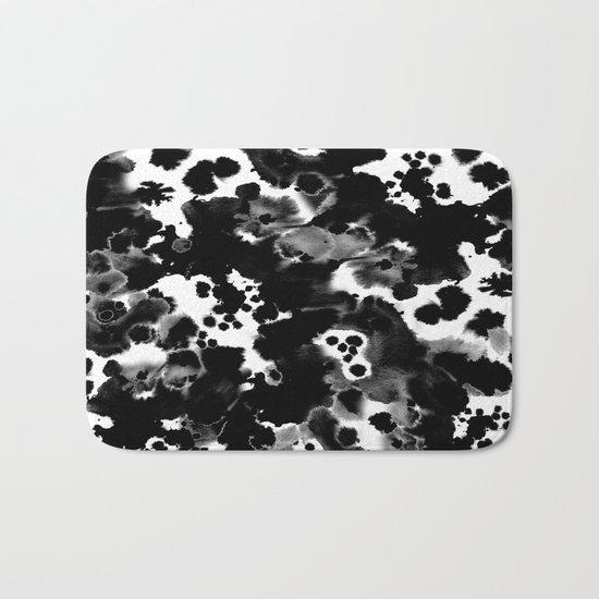 Peti - black and white minimal marble abstract painting brushstrokes modern urban hipster bklyn art Bath Mat