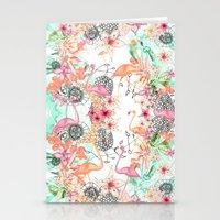 flamingos Stationery Cards featuring FlAmINGOS by Monika Strigel®