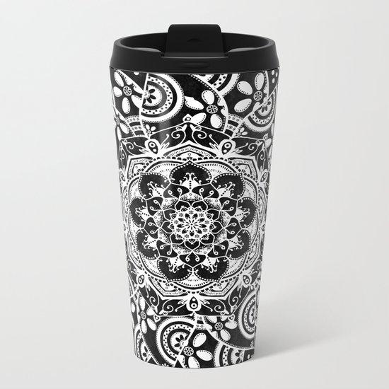 Spirit Within Black & White Patterned Mandala Metal Travel Mug