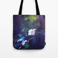 hydrangea Tote Bags featuring Hydrangea by Nikita Gill