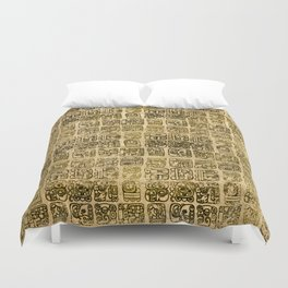 Mayan and aztec glyphs gold on vintage texture Duvet Cover