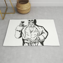 Vampire skeleton holding blood cup -  black and white Rug