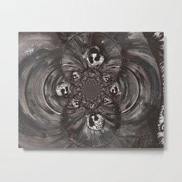 Black and White Sugar Skull Abstract Metal Print