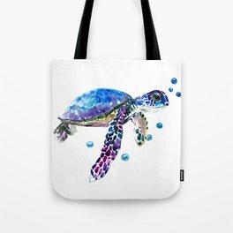 Sea Turtle, blue purple illustration children room cute turtle artwork Tote Bag