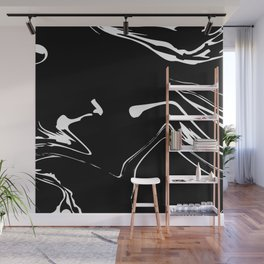 Black and White liquid Paint Splash Wall Mural