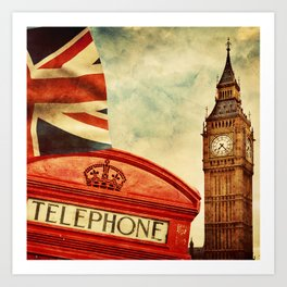 Red telephone booth and Big Ben in London, England Art Print