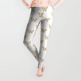 Metallic Gold Foil Butterflies on White Leggings