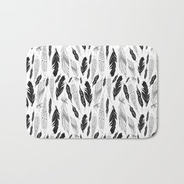 raphic pattern feathers on a white background Bath Mat