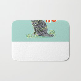 Tabby Grey Cat elf costume christmas funny cat lady gift idea for cat person humorous cat gift Bath Mat
