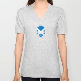 Flag of Scotland on a Chaotic Splatter Skull Unisex V-Neck