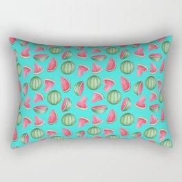 Watermelon Pattern, Turquoise Background Rectangular Pillow