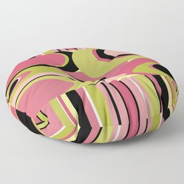 Contemporary Circles and Stripes Pattern in Hot Pink Neon Green and Black Floor Pillow