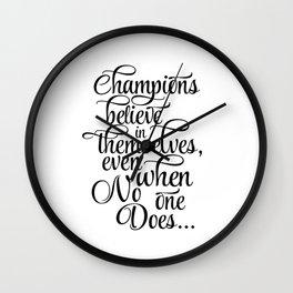 "Printable Wall Art Quotes, warming present, thank you gift, Art Prints, ""Champions"", winner, Modern Wall Clock"