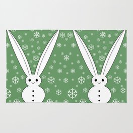 Snow bunny and snowflakes Rug