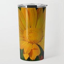 Pale Orange Marigold Flower With Garden Background  Travel Mug