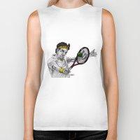 tennis Biker Tanks featuring Tennis Federer by Paul Nelson-Esch Art