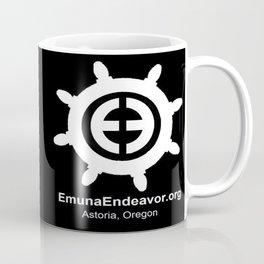 Ship Wheel Logo - White on Black Coffee Mug