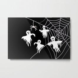 White Ghosts spider web Black background Metal Print