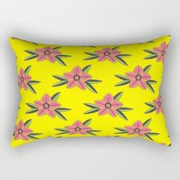 Hand Drawn Old School Tattoo Flower - Bright Yellow Rectangular Pillow