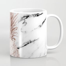 Rose Gold Pineapple on Black and White Marble Coffee Mug
