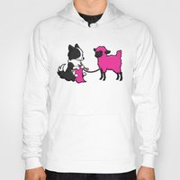 border collie Hoodies featuring Border Collie Knitting by Diony Cook Rouse