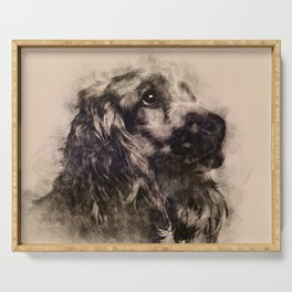 English Cocker Spaniel Sketch Serving Tray