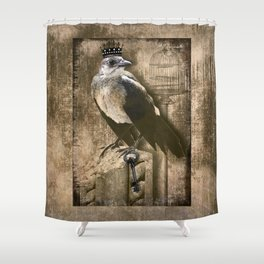 Vintage Grackle Queen Shower Curtain
