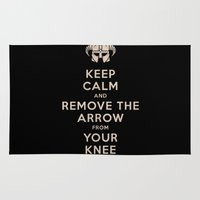 skyrim Area & Throw Rugs featuring Keep Calm And Remove The Arrow From Your Knee by Royal Bros Art