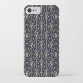 Art Deco Vector in Blue and Gold iPhone Case