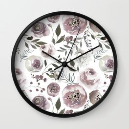 dusty rose floral watercolor Wall Clock