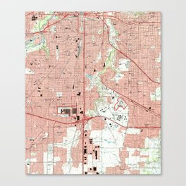 Fort Worth Texas Map (1995) Canvas Print